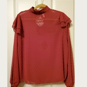 MTS Long sleeve Rust color Blouse
